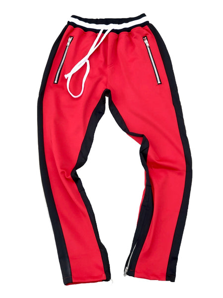 Red/Black Double Striped Trackpants w/ RIRI Zippers