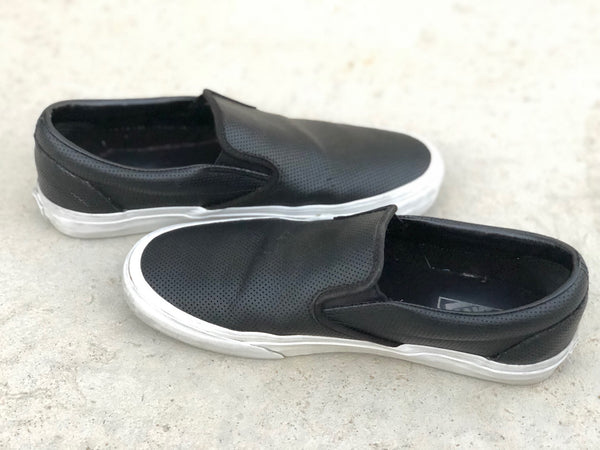 Black Leather Vans Slip Ons