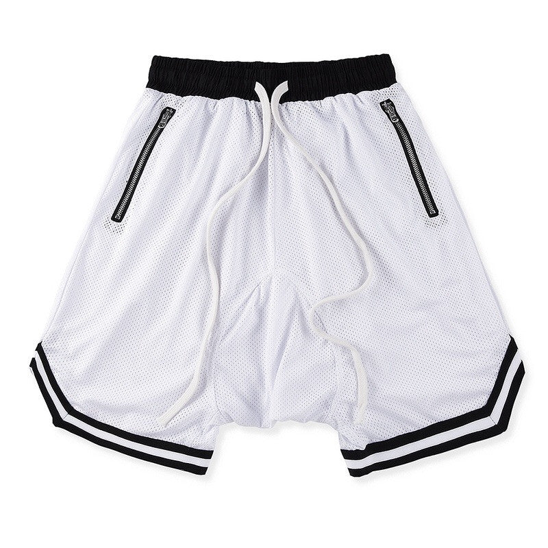 White/Black Mesh Basketball Shorts w/ Riri Zippers. - Upcycled Streetwear