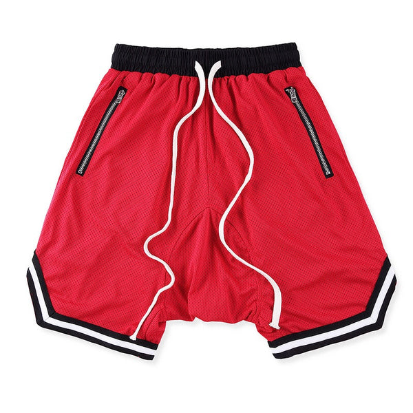 Red Mesh Basketball Shorts w/ Riri Zippers - Upcycled Streetwear