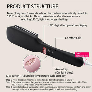 2 in 1 Ionic Hair Straightening Brush-GoAmiroo Store