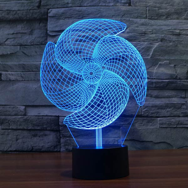 Pinwheel Pattern Colorful 3D LED Lamp