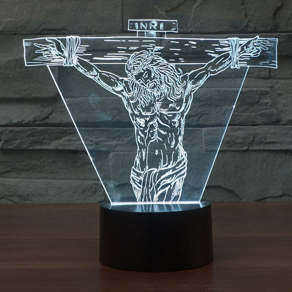 Jesus Suffering Colorful 3D LED Lamp