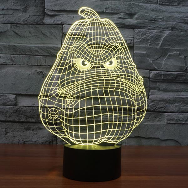 Pumpkin Pattern Colorful 3D LED Lamp