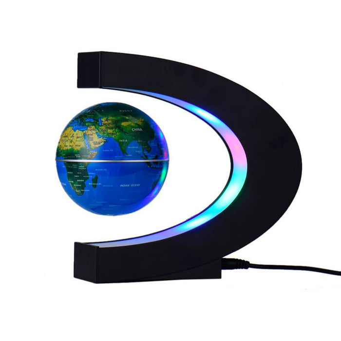 C Shape Floating Globe World Map LED Light