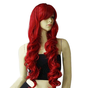 32 in. Long Big Spiral Curl Dark Red Cosplay Wig-GoAmiroo Store