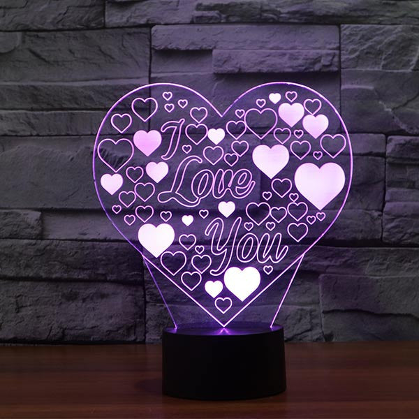 Romantic Heart Shape Colorful 3D LED Lamp