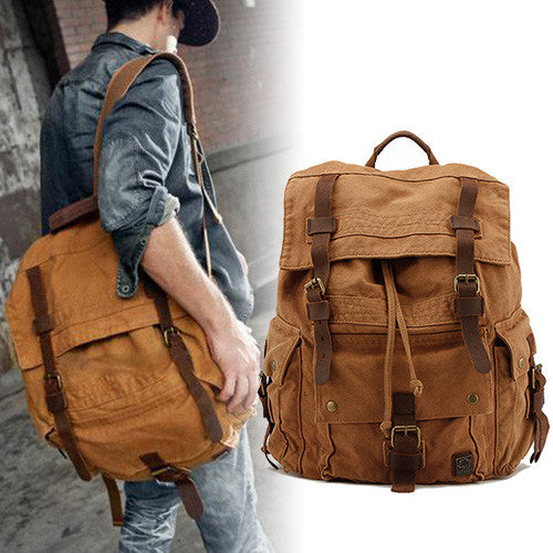 Retro Unisex Canvas Backpack - 2 Styles