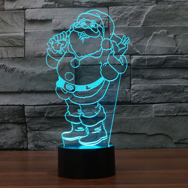 Santa Claus Colorful 3D LED Lamp-GoAmiroo Store