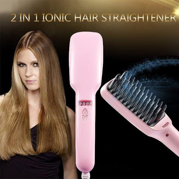 2 in 1 Ionic Hair Straightening Brush