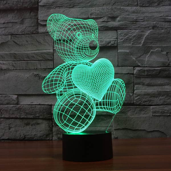 Teddy Bear with Heart Colorful 3D LED