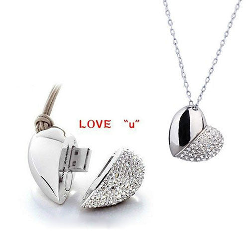 Heart Shape USB Flash Drive with Necklace