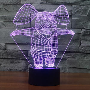 Cute Elephant Pattern Colorful 3D Led Lamp - Goamiroo Store