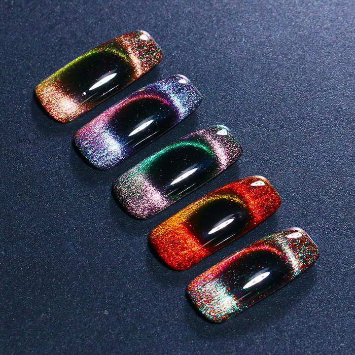 Holographic Chameleon Cat Eye Nail Gel 5ml Magnetic Soak Off Uv Gel