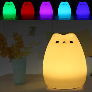 Rechargeable Colorful Kitten Night Light-GoAmiroo Store