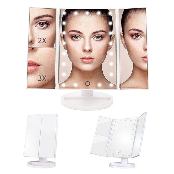Touch Screen Trifold Led Lighted Mirror-GoAmiroo Store