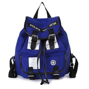 Doctor Who Tardis Canvas Backpack With Two Buckles - Goamiroo Store