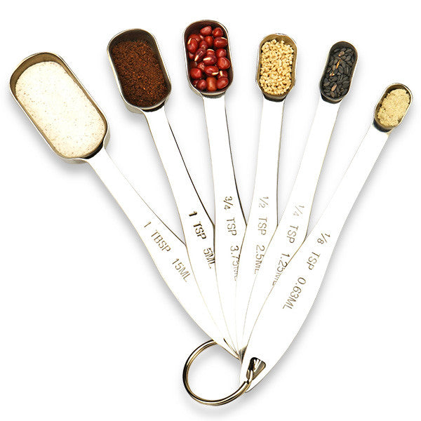 Set of 6 Stainless Steel Measuring Spoons