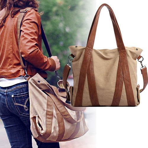 Oversized Canvas Leather Trim Tote - 3 Styles