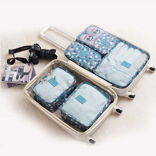 New Flower Style 6Pcs Travel Luggage Organiser