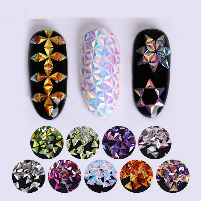 Unicorn AB Color Nail Sequins Chameleon Triangle Star Iridescent Flakies Tips Manicure 3D