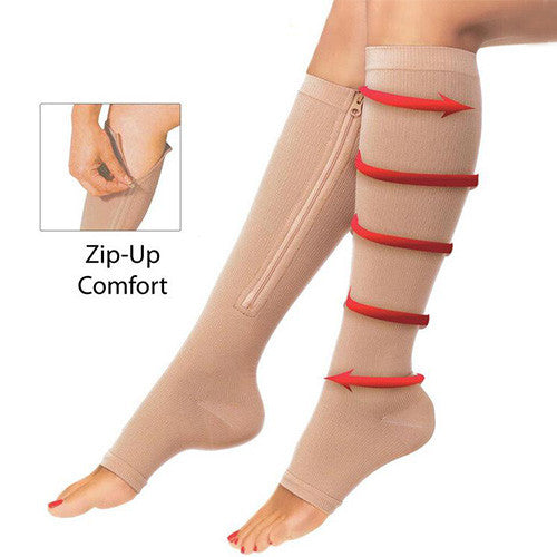 2 Pairs of Zipper Open Toe Compression Socks