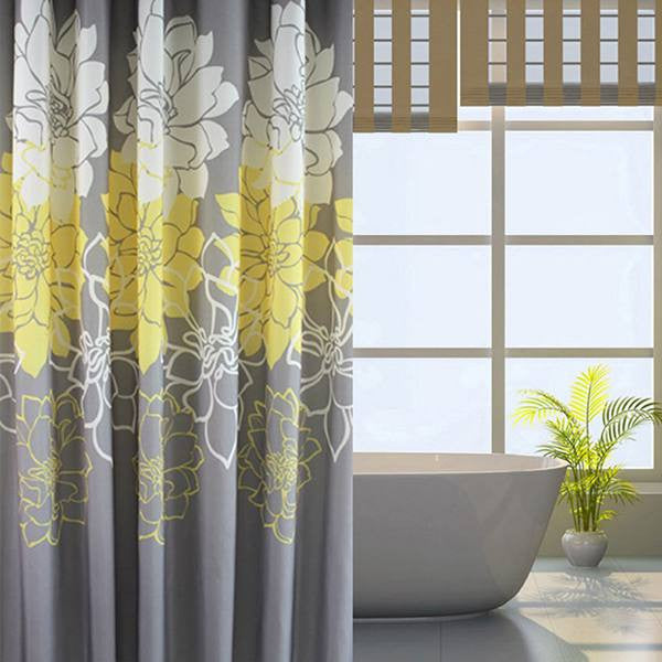 Floral Printed Fabric Shower Curtain