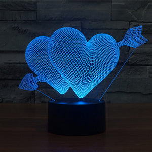 Valentine Hearts With Arrow Pattern 3D Led Lamp - Goamiroo Store