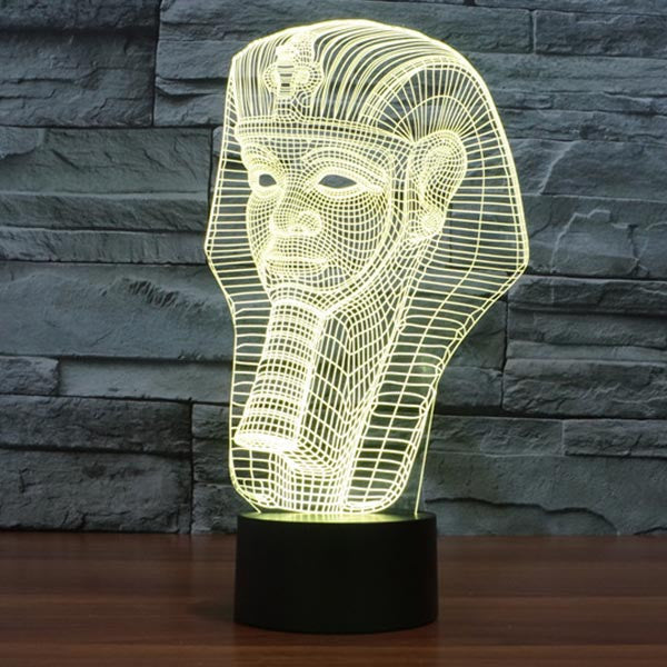 Pharaoh Pattern Colorful 3D LED Lamp-GoAmiroo Store
