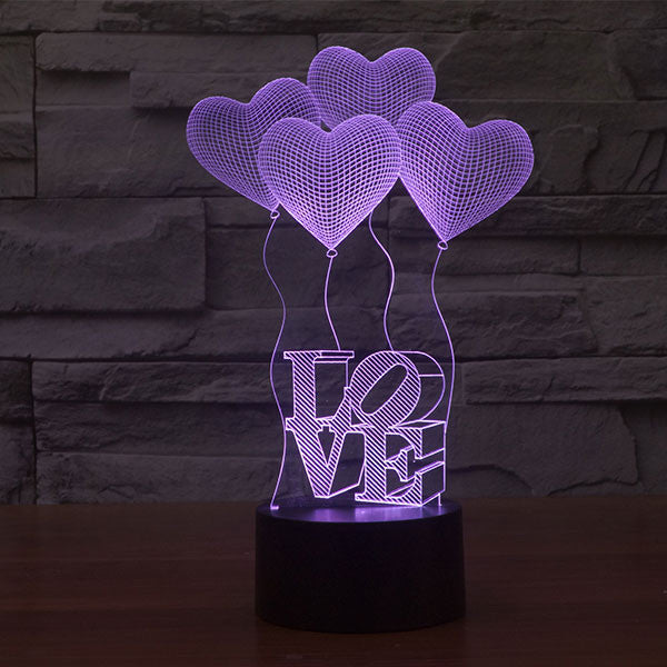 Four Love Ballons Colorful 3D LED Lamp