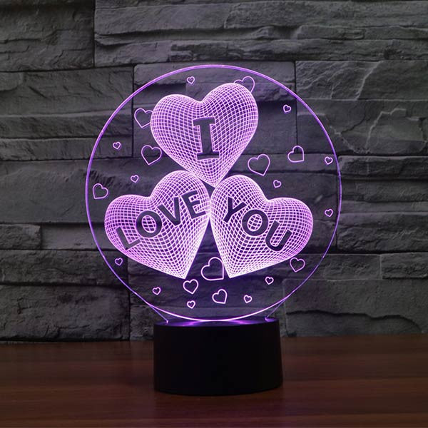 Love Hearts Pattern Colorful 3D LED Lamp