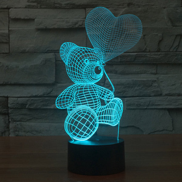 Teddy Bear Pattern Colorful 3D LED Lamp-GoAmiroo Store
