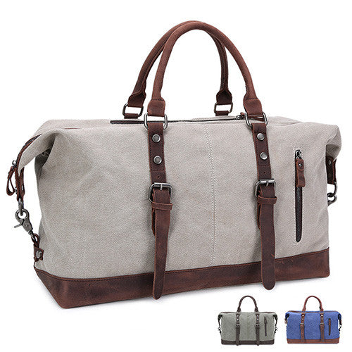 Oversized Canvas Leather Trim Shoulder Bag - 3 Styles