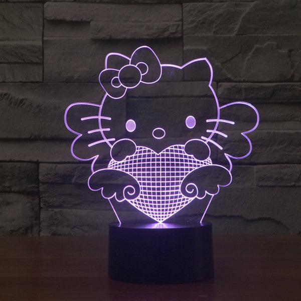 Hello Kitty Pattern Colorful 3D LED Lamp