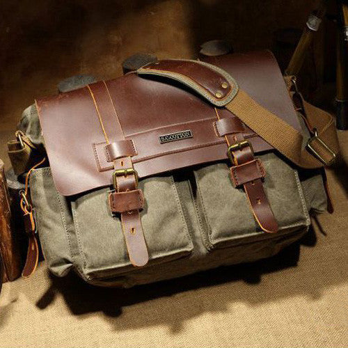 Genuine Leather Canvas Messenger Bag - 4 Styles
