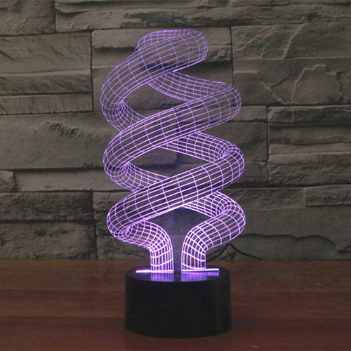 Spiral Style Colorful 3D LED Lamp