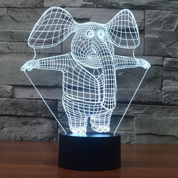 Cute Elephant Pattern Colorful 3D LED Lamp-GoAmiroo Store