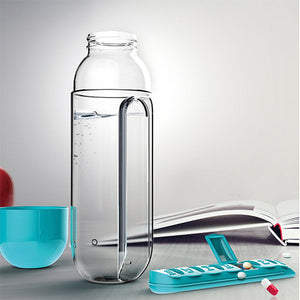 Water Bottle With Built-In Daily Pill Box Organizer - Goamiroo Store