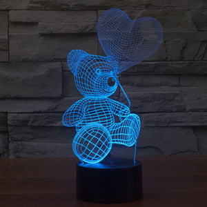 Teddy Bear Pattern Colorful 3D Led Lamp - Goamiroo Store