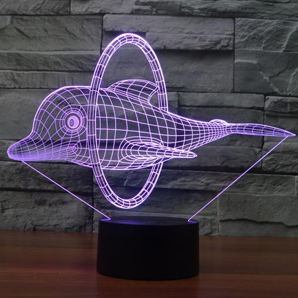 New Dolphin Pattern Colorful 3D LED Lamp-GoAmiroo Store