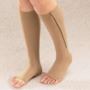2 Pairs of Zipper Open Toe Compression Socks-GoAmiroo Store