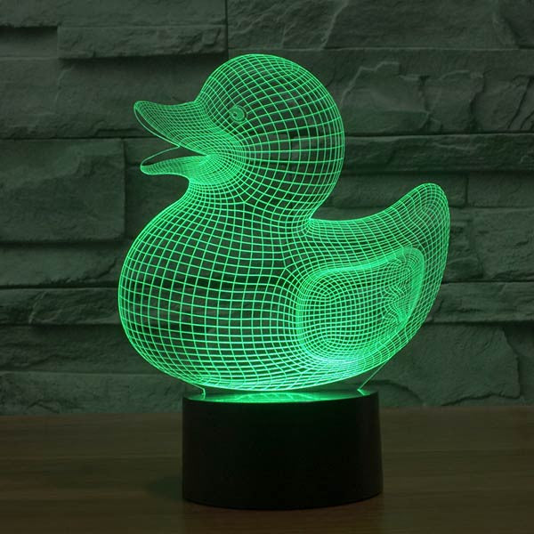 Duck Pattern Colorful 3D LED Lamp-GoAmiroo Store