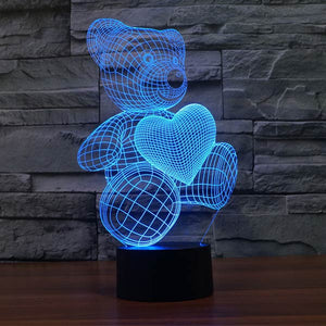 Teddy Bear With Heart Colorful 3D Led - Goamiroo Store