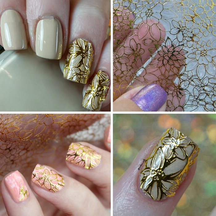 Embossed Blooming Flower 3D Nail Stickers Gold Adhesive Transfer Sticker Manicure