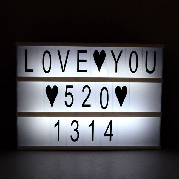 Cinema Lightbox with Interchangeable Letters-GoAmiroo Store
