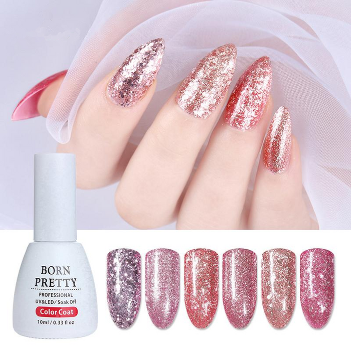 Rose Gold Series Nail Gel Polish 10ml Shining Glitter Nude Soak Off UV Gel Nail Art Gel Vanish