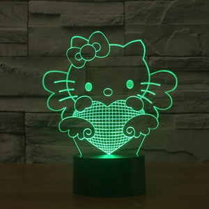 Hello Kitty Pattern Colorful 3D LED Lamp-GoAmiroo Store