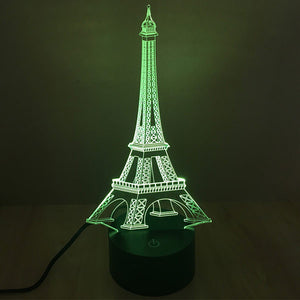 Eiffel Tower Pattern Colorful 3D Led Lamp - Goamiroo Store