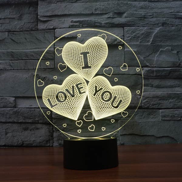 Love Hearts Pattern Colorful 3D LED Lamp-GoAmiroo Store