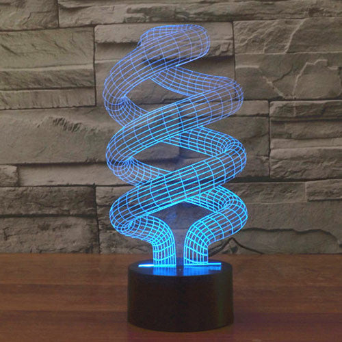 Spiral Style Colorful 3D LED Lamp-GoAmiroo Store